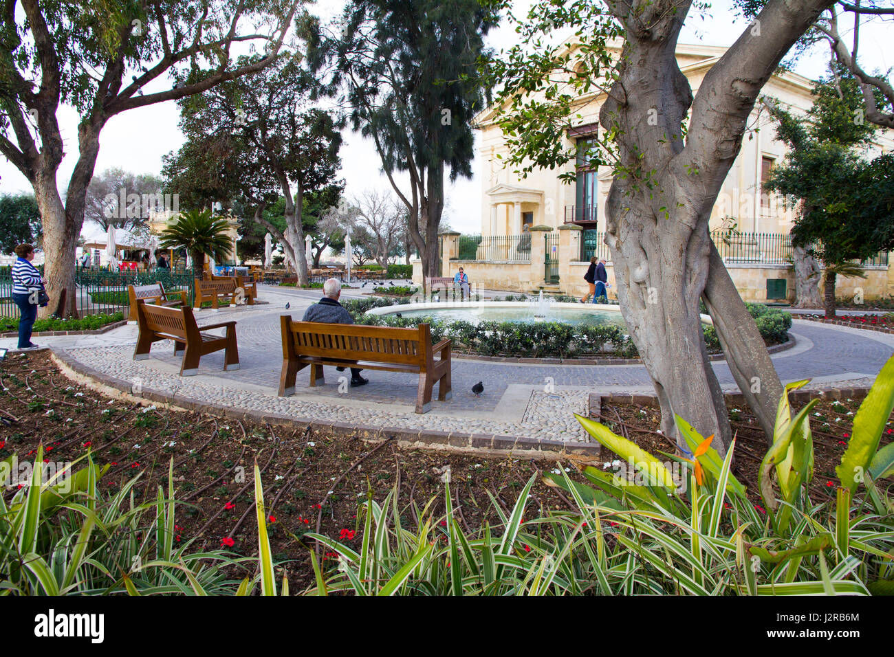 The Upper Barrakka Gardens are a public garden located above the Saluting Battery on the upper tier of the St. Peter - Stock Image