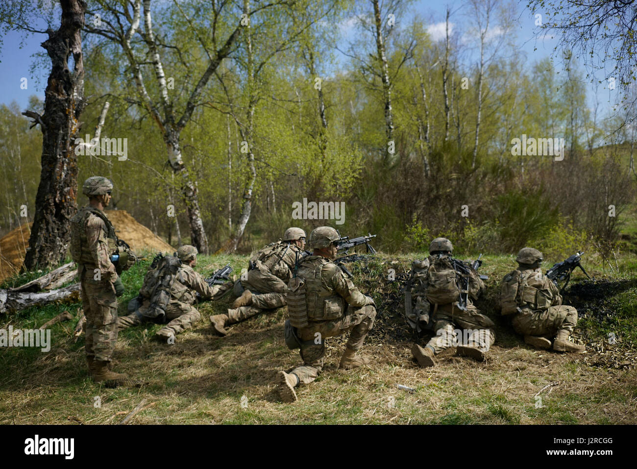 U.S. Soldiers of Comanche Troop, 4th Squadron, 10th Cavalry Regiment, 3rd Armored Brigade Combat Team, 4th Infantry - Stock Image