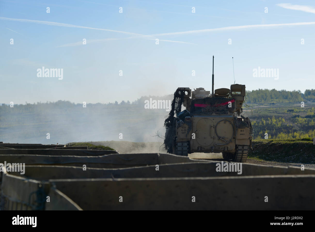 U.S. Soldiers of 4th squadron, 10th Cavalry Regiment, 3rd Armored Brigade Combat Team, 4th Infantry Division fire - Stock Image