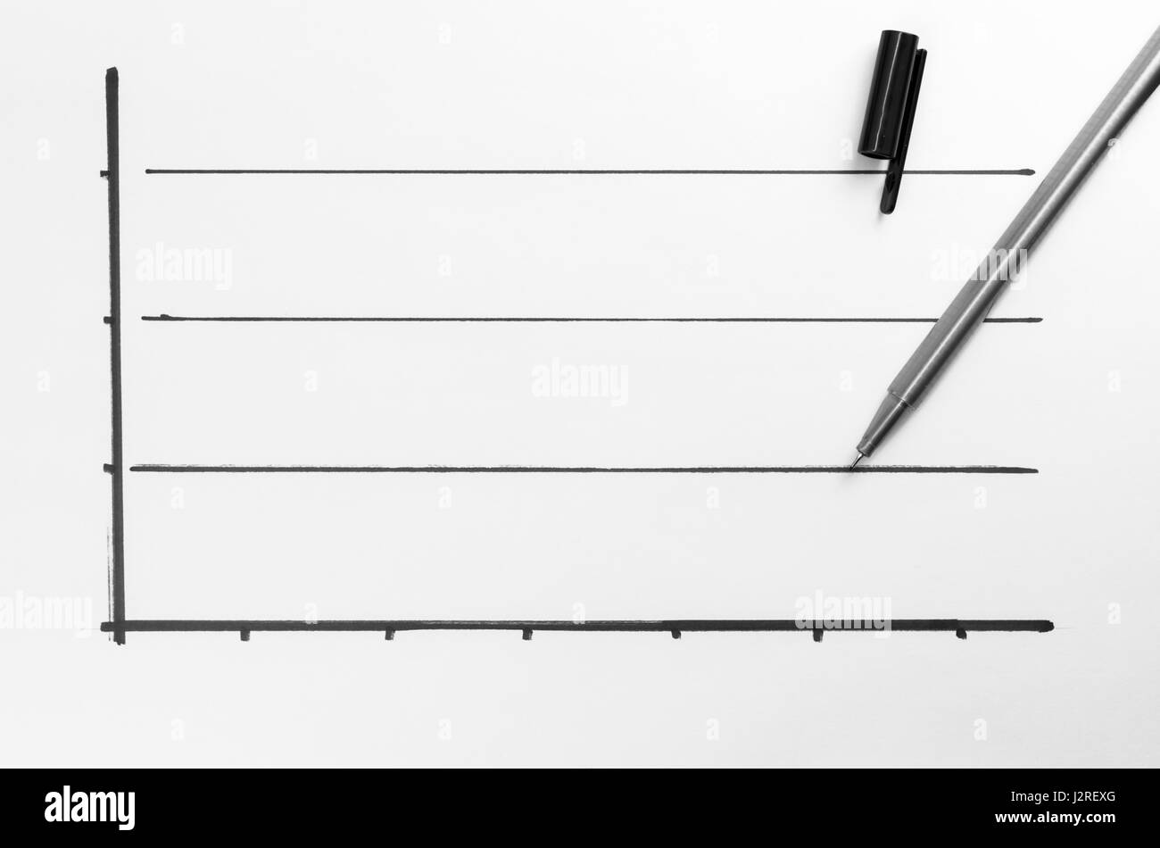 blank graph backdrop with pencil - top view - Stock Image