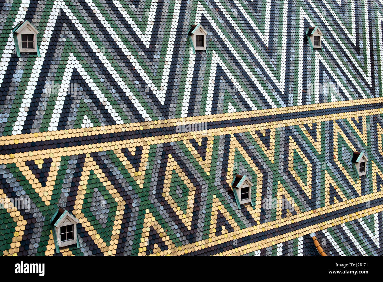 Close-up photography. Stephansdom roof fragments. Vienna. Austria. - Stock Image