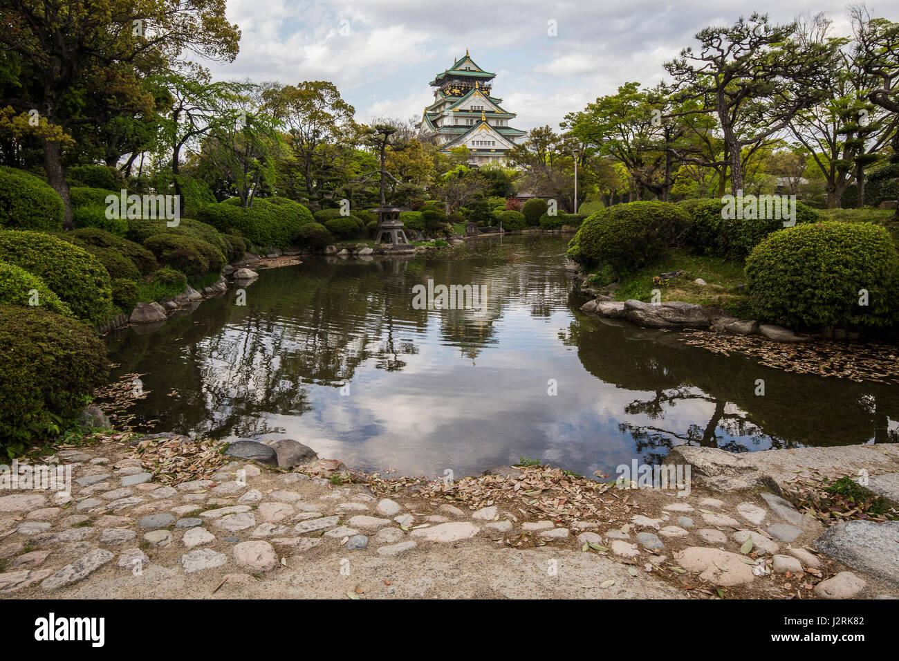 Osaka Castle Garden - the inner bailey garden was developed along ...