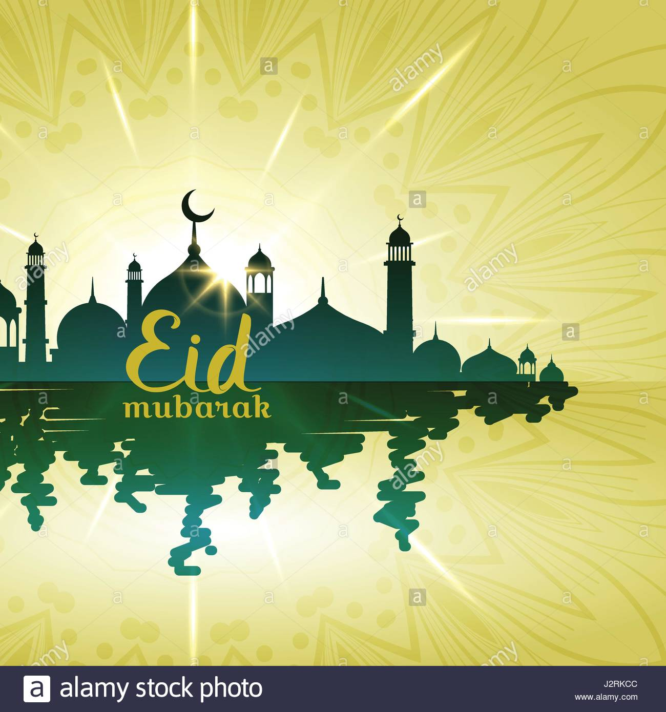 eid mubarak background with mosque with water reflection - Stock Vector
