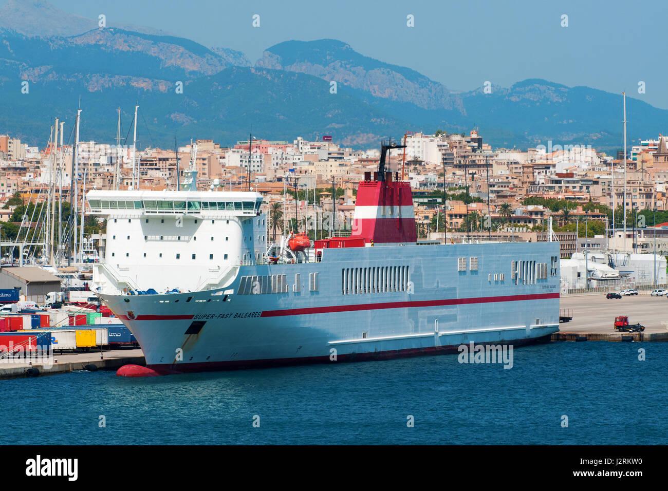 SUPER FAST BALEARES (Portugal Flag), RO-RO CARGO in Palma de Mallorca,   Island of Majorca, Balearic Islands, Spain, - Stock Image