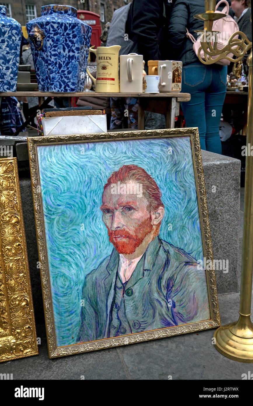 Reproduction of a Vincent Van Gogh self-portait on a fleamarket stall in the Grassmarket, Edinburgh, Scotland, UK. - Stock Image