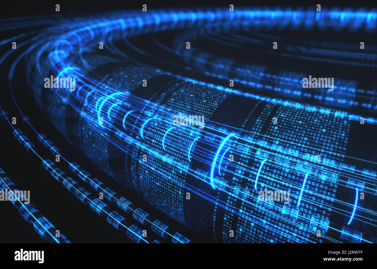 3D illustration, abstract background, technology concept. Binary tubes and connections. - Stock Image