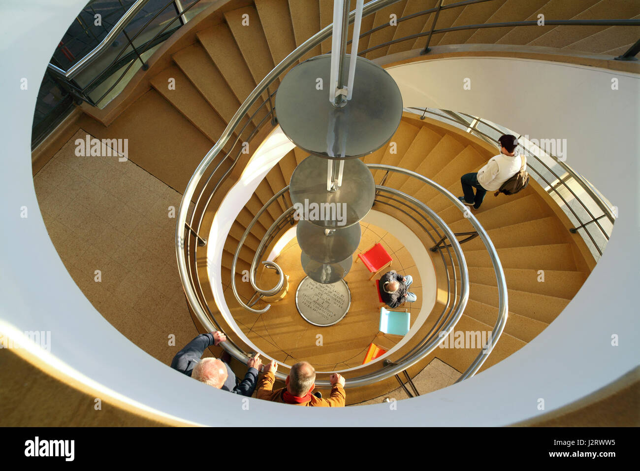 Looking down a spiral staircase at the De La Warr Pavilion, Bexhill, East Sussex Stock Photo