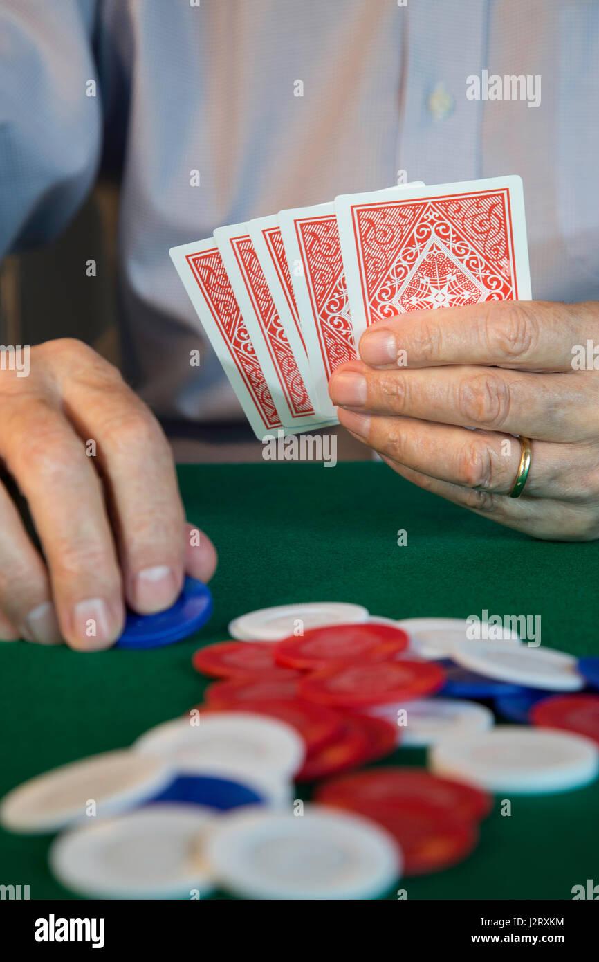Man Playing Poker , USA - Stock Image