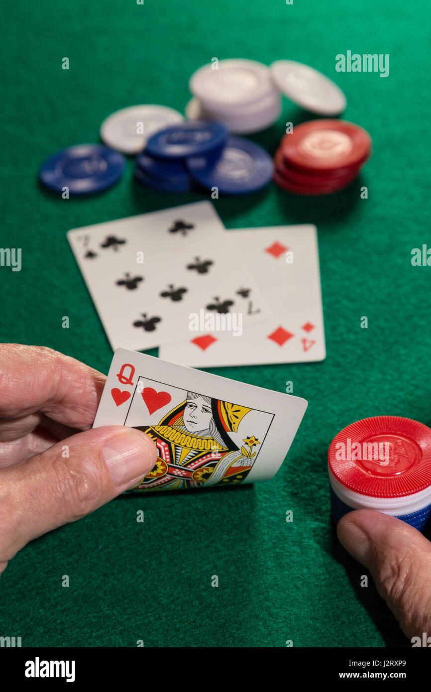 Man Playing Poker - Stock Image