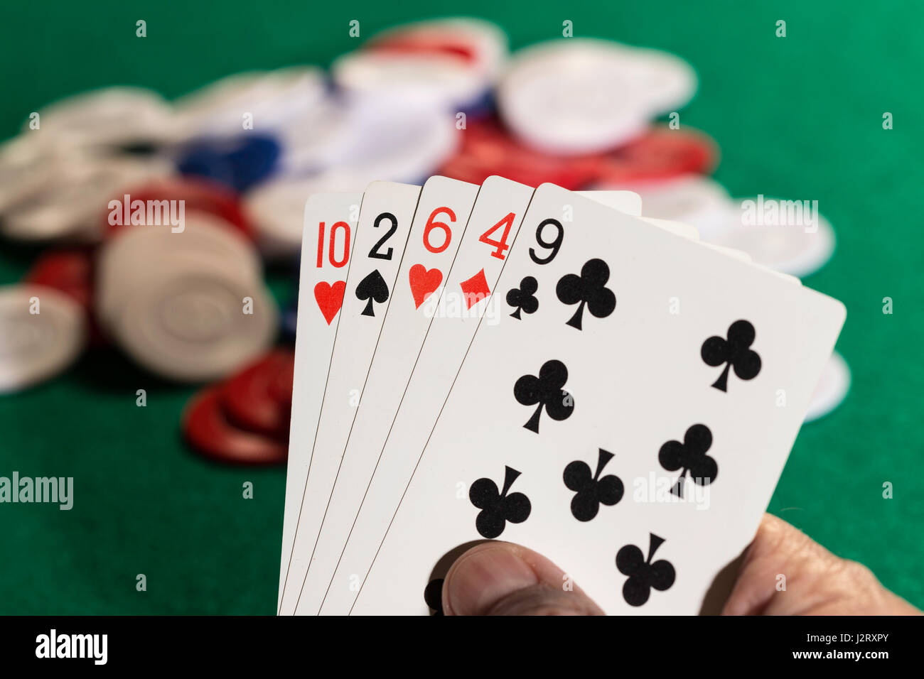 Man Playing Poker - Stock Image