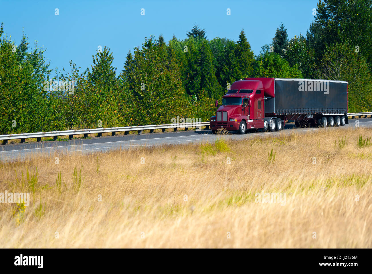 Red modern semi truck with a turp trailer with a spoiler over the roof on the highway on a background summer picturesque - Stock Image
