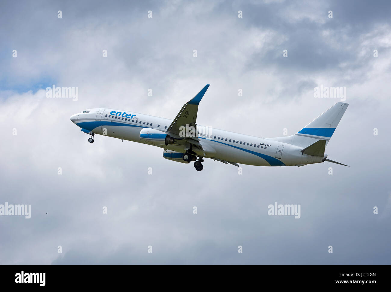 A Polish 737-8AS departing Inverness Dalcross airport in the Scottish Highlands, UK. Stock Photo