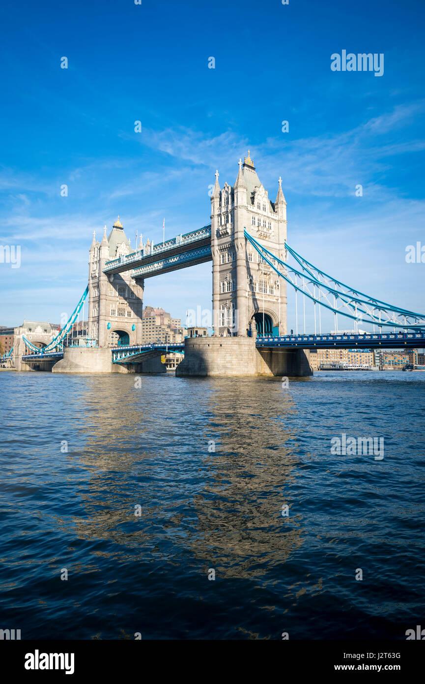 Scenic View Of The Famous Landmark Tower Bridge Crossing River Thames On London England Skyline