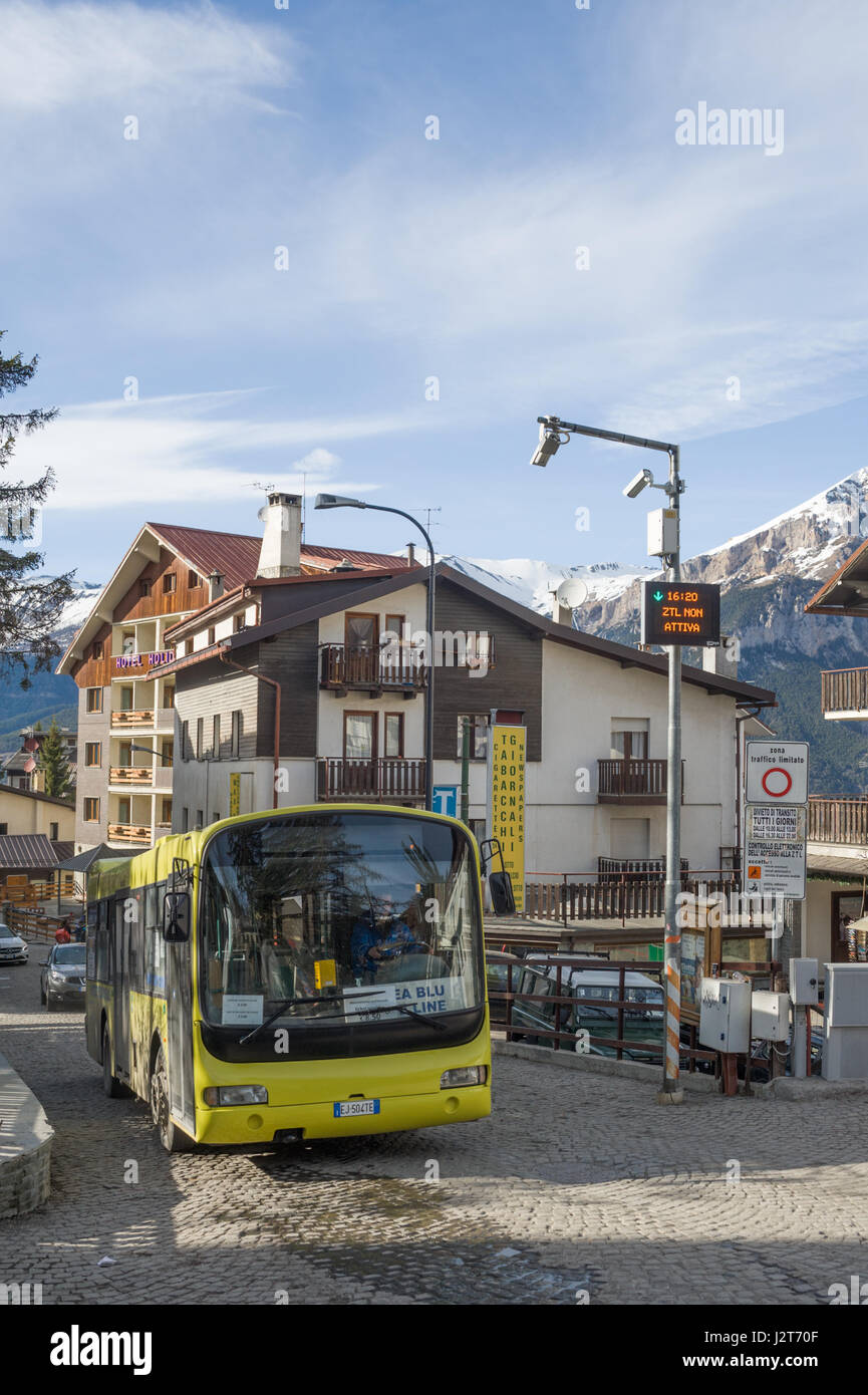 A local bus service operating in Sauze d'Oulx ski resort, Turin, Piedmont, Italy - Stock Image