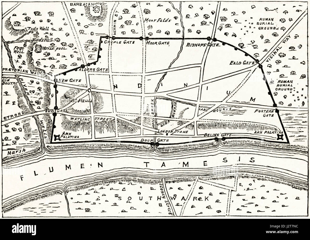 Map of Roman London showing the ancient walls. Victorian engraving circa 1880. - Stock Image