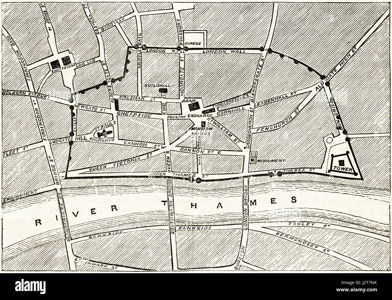 Map of Victorian London showing the ancient walls. Victorian engraving circa 1880. - Stock Image