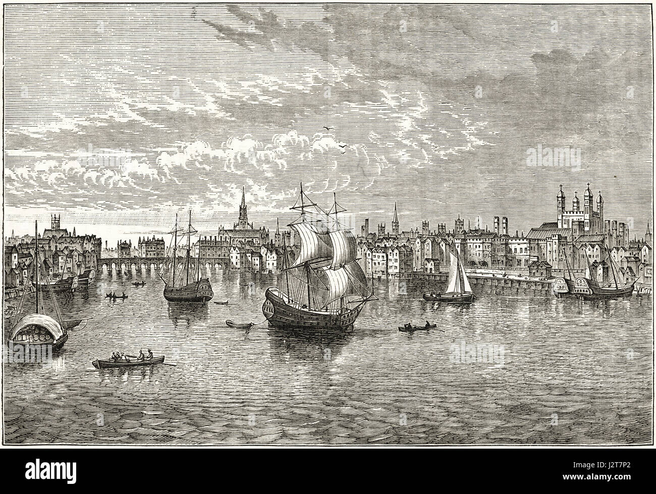16th century south-east view of London over River Thames in 1550. Victorian engraving circa 1880. - Stock Image