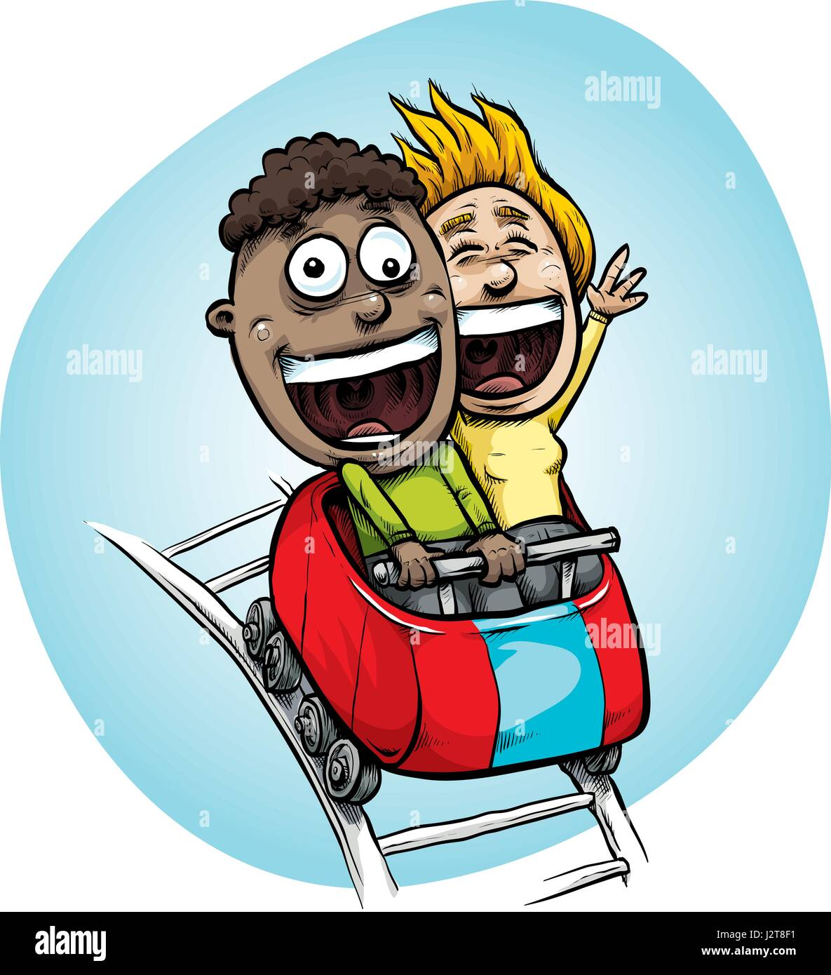 A cartoon teenage boy and girl riding in a fast moving roller coaster car with big, happy, smiles. - Stock Vector