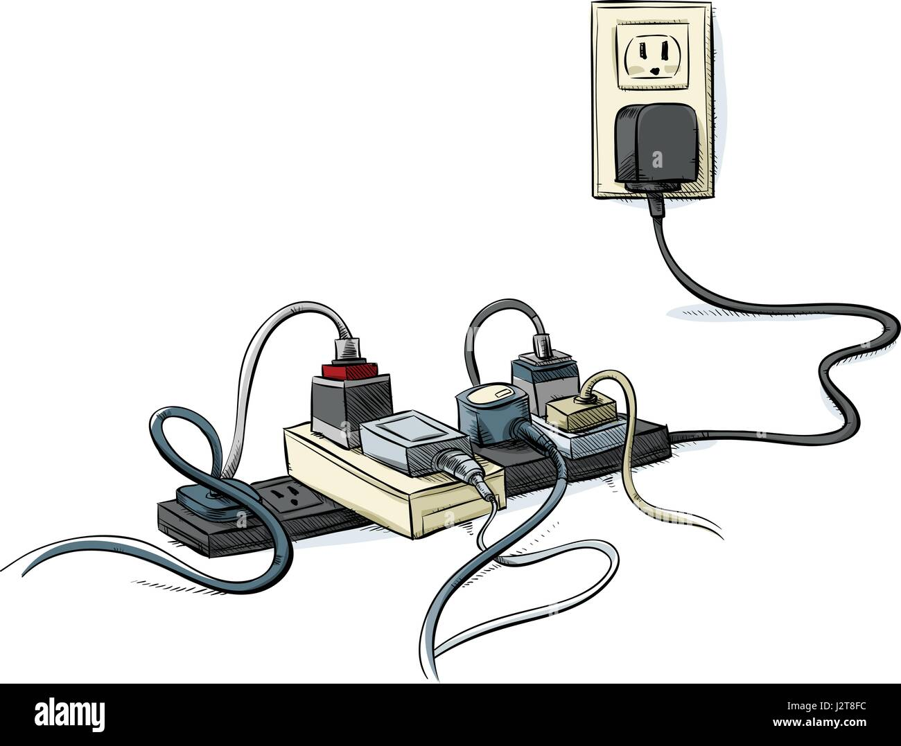 Cartoon power cords and bars combined in a tangle Stock Vector Art ...