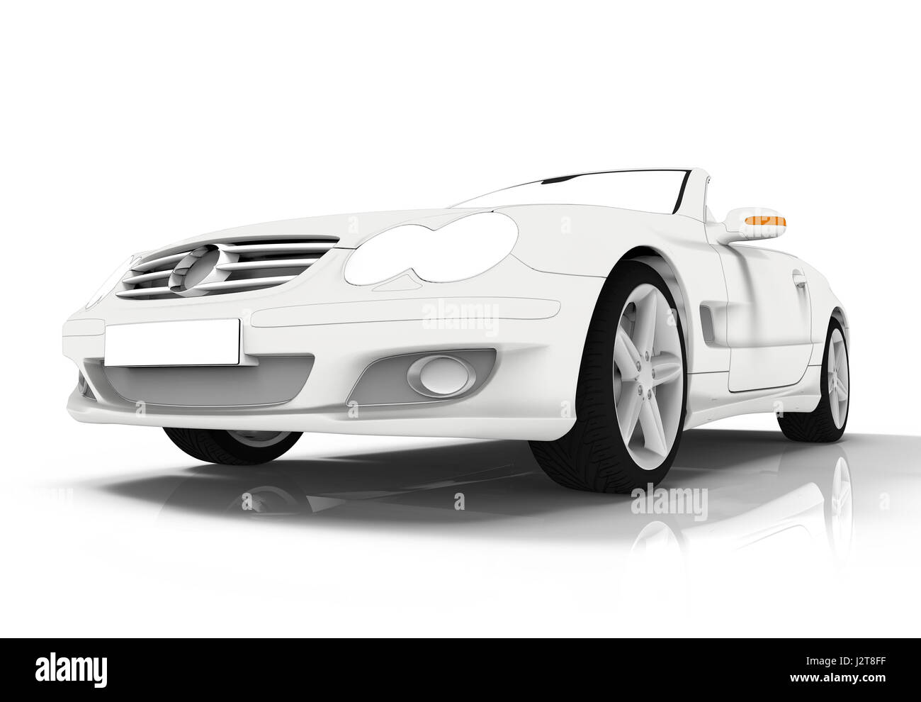 3d rendering of a brandless generic white toon car - Stock Image