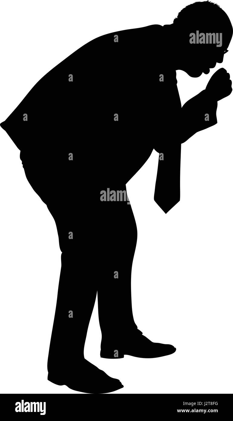 A silhouette of a businessman having a painful cough. - Stock Image