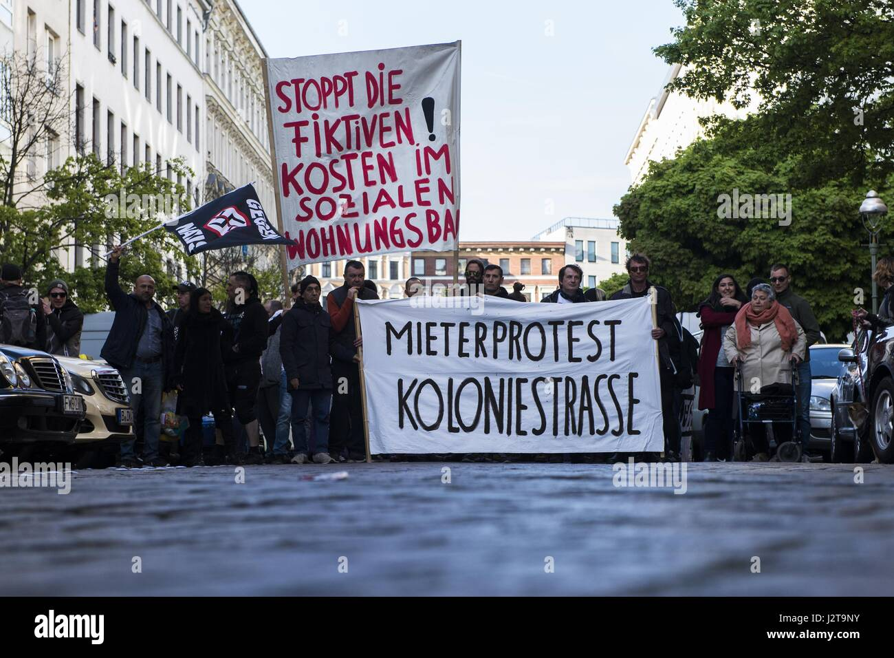 Berlin, Berlin, Germany. 30th Apr, 2017. About 2,500 people participate in the demonstration under the motto 'Organize! - Stock Image