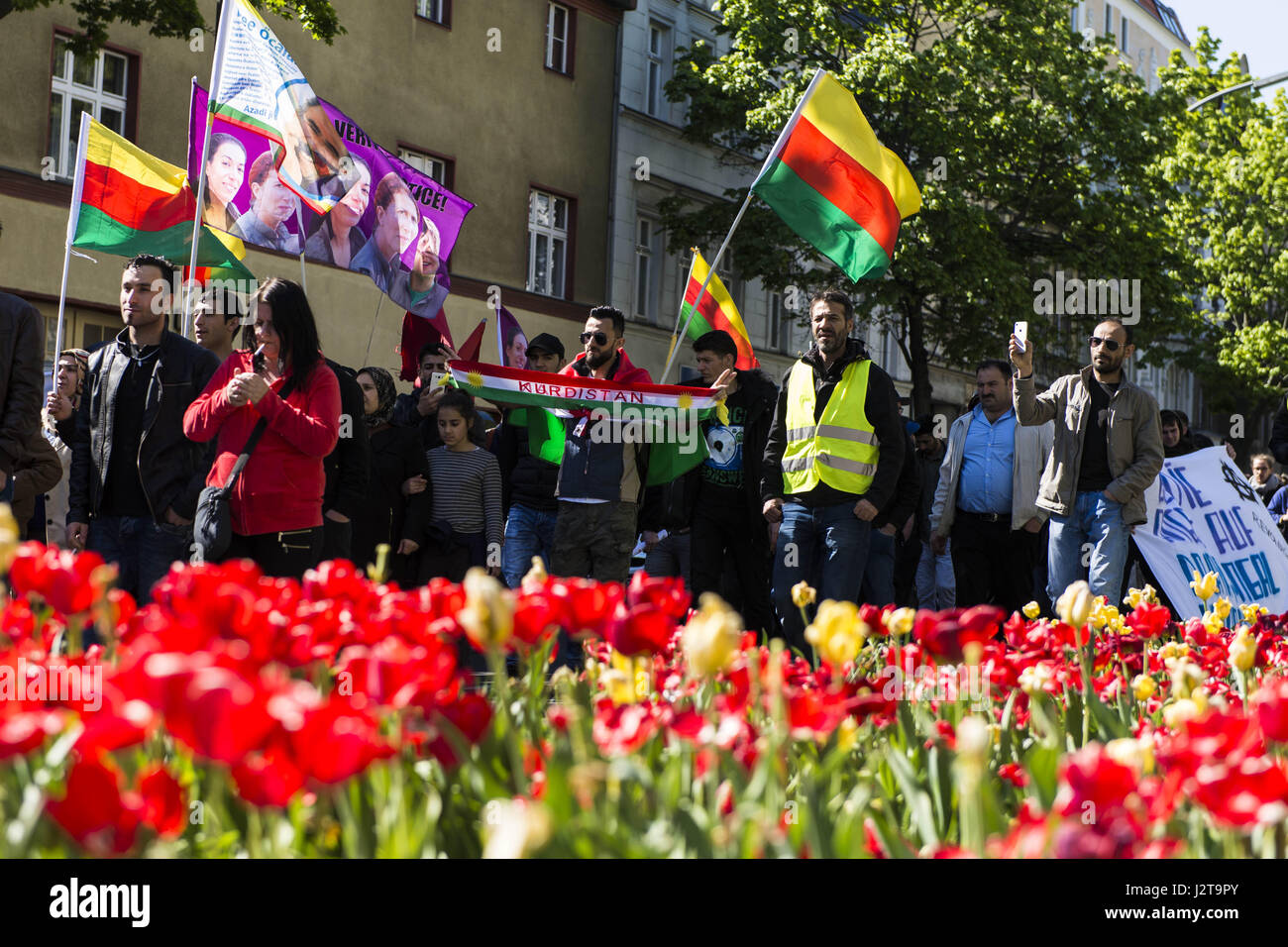 Berlin, Berlin, Germany. 30th Apr, 2017. Few hundred demonstrators during a demonstration under the motto 'No - Stock Image
