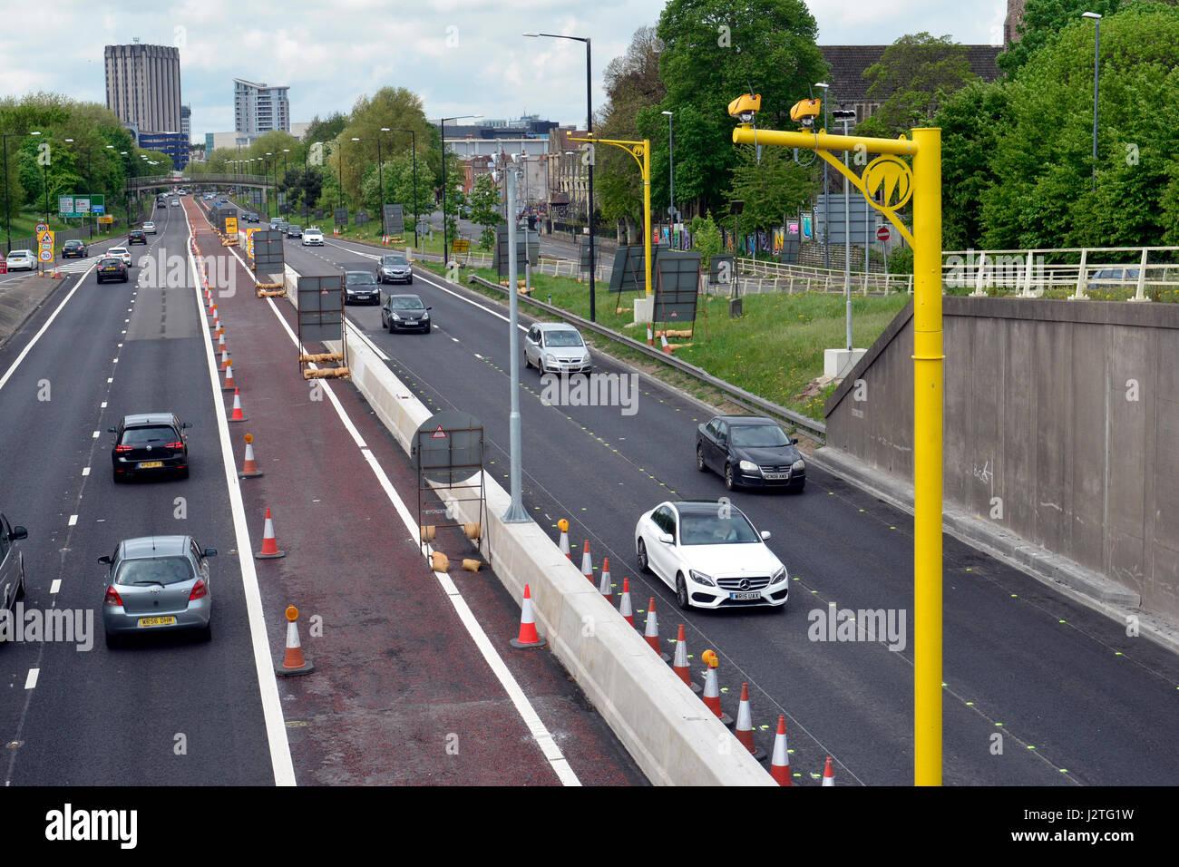 Bristol, UK. 01st May, 2017. M32 Bristol motorway. Newly installed bright yellow average speed cameras have caught Stock Photo