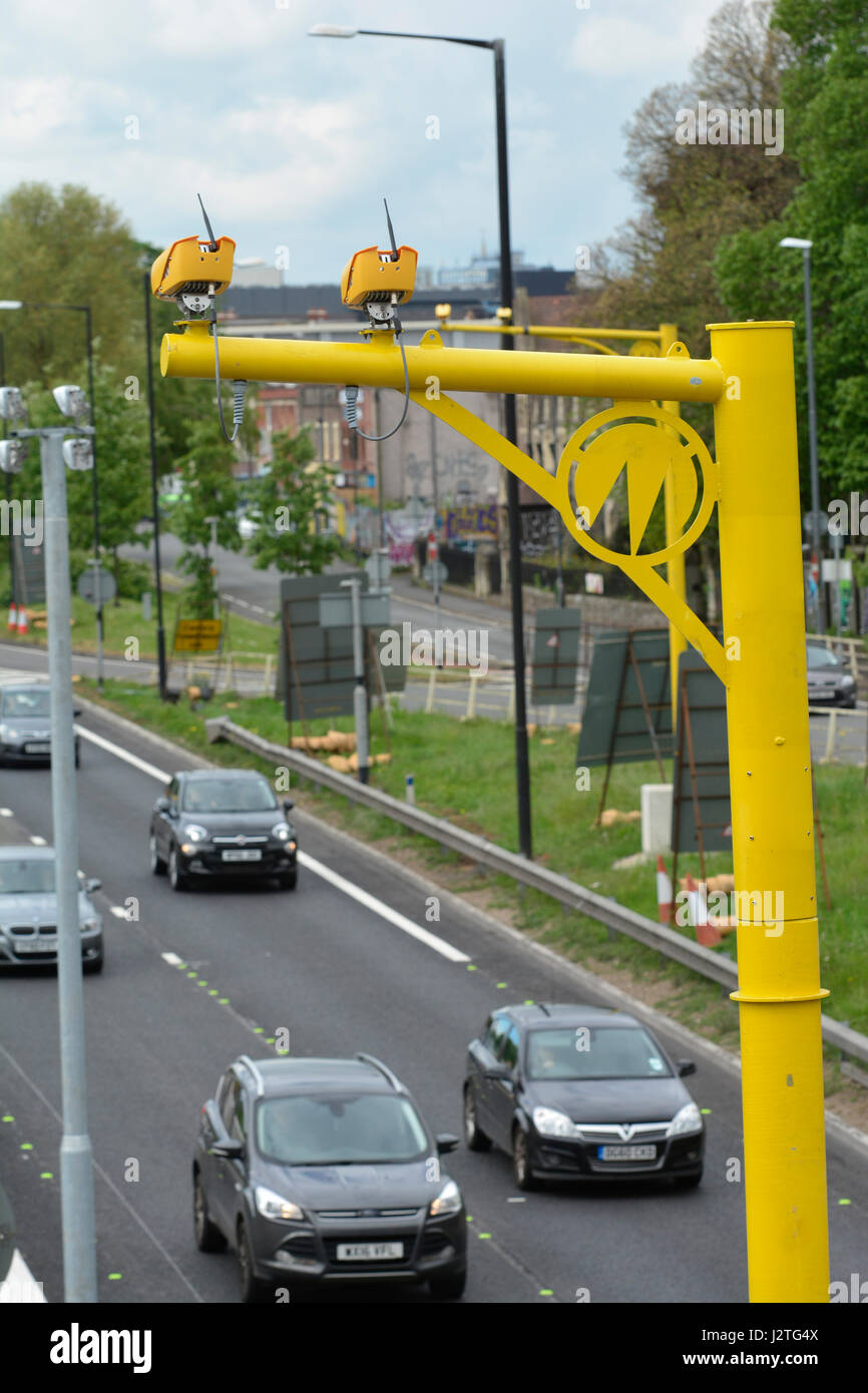 Bristol, UK. 01st May, 2017. M32 Bristol motorway. Newly installed bright yellow average speed cameras have caught Stock Photo