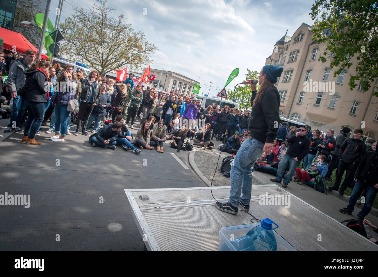 Halle, Germany . 01st May, 2017. Counter demonstrators to a far right May Day march in Halle, Saxony-Anhalt. The Stock Photo