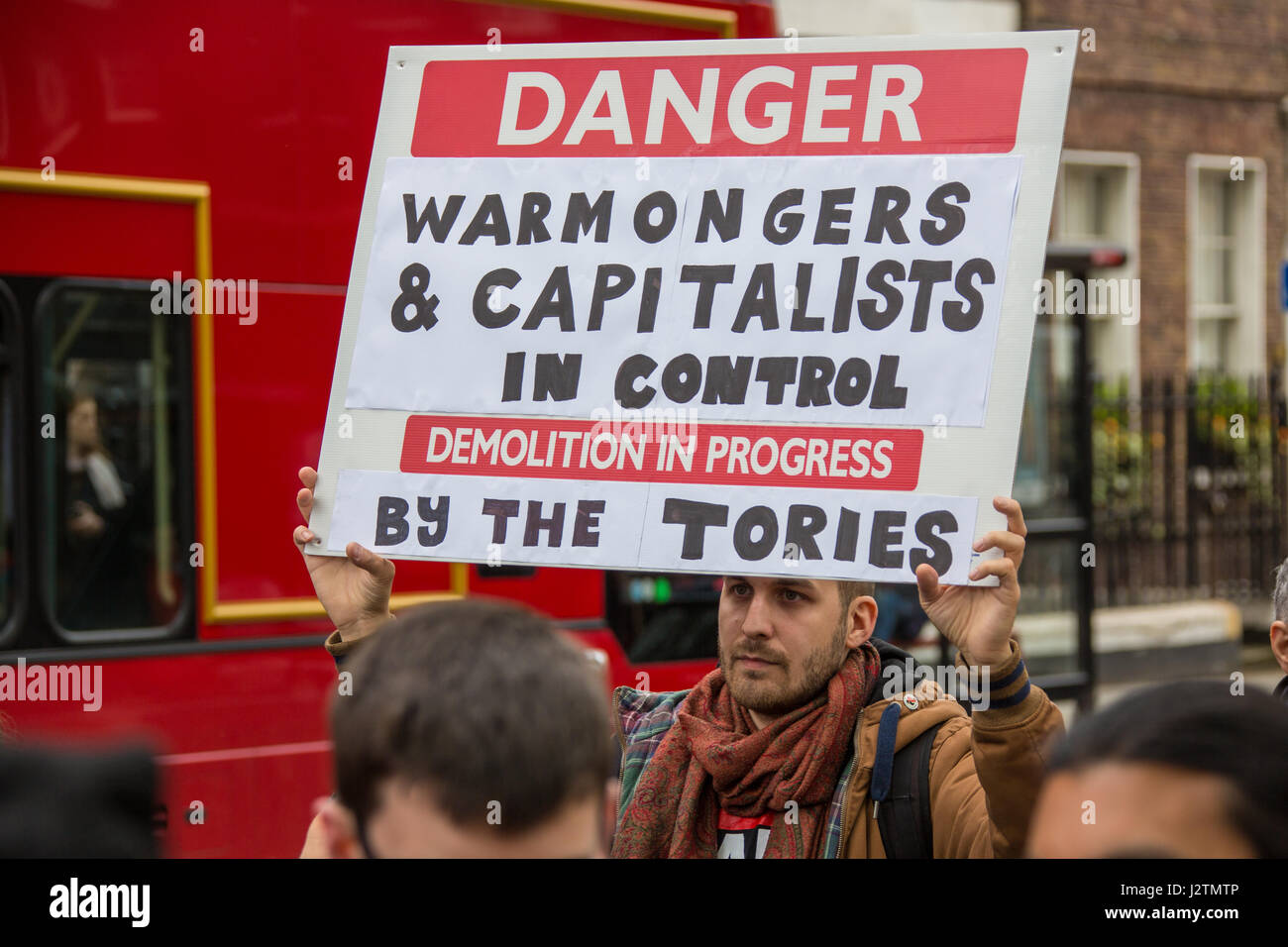 1 May, 2017. An anti-Tory placard on the traditional May Day workers march from Clerkenwell Green to Trafalgar Square - Stock Image