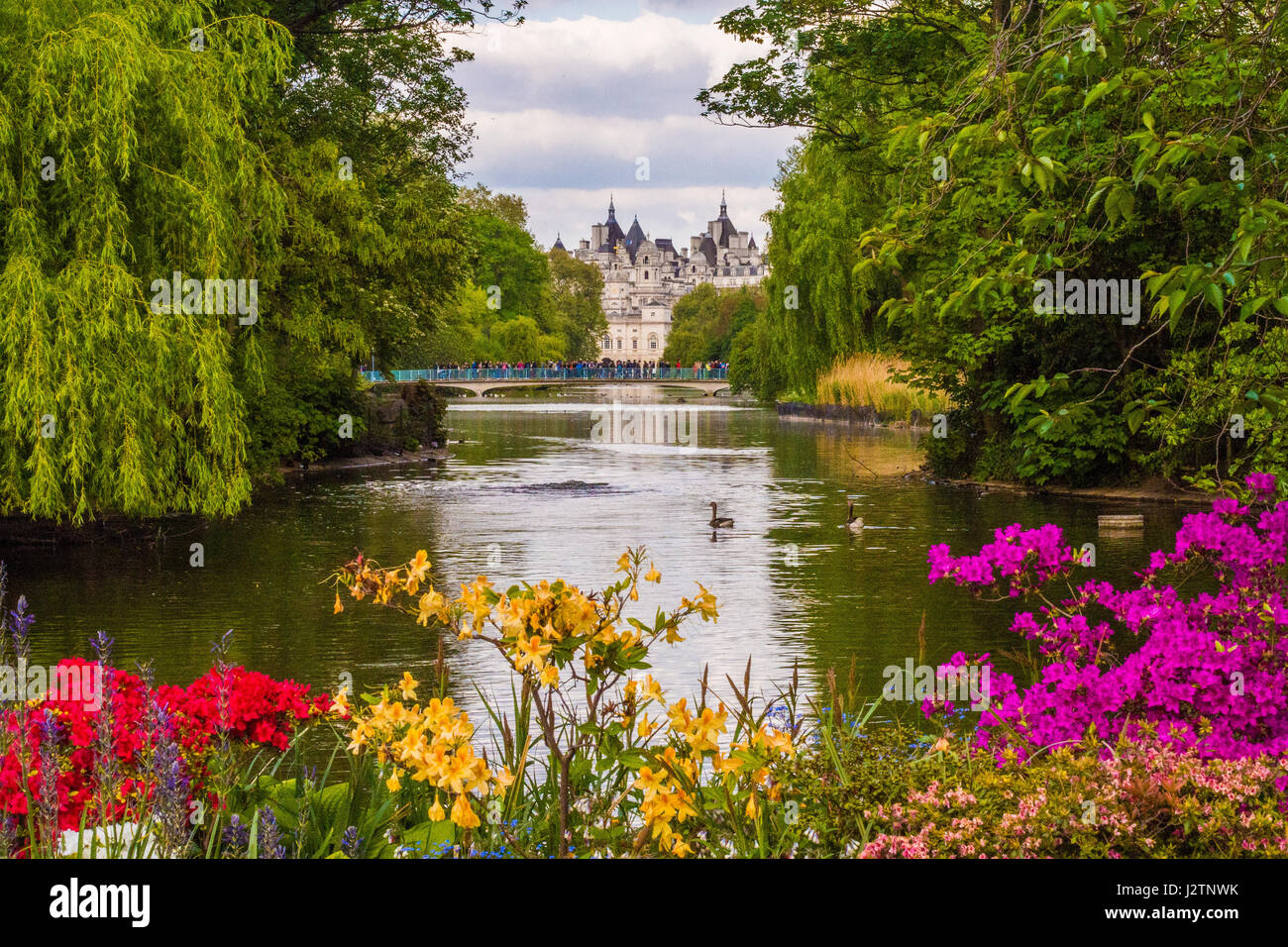 St James Park London with Horse Guards Parade in the background. Stock Photo
