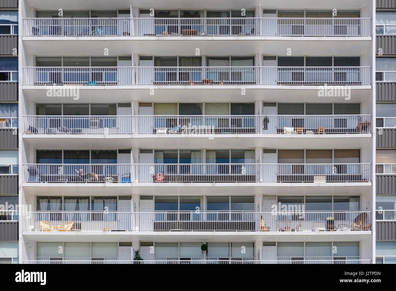 Facade of a condo building, highrise balconies, condominium living, urban living, London, Ontario, Canada. Stock Photo