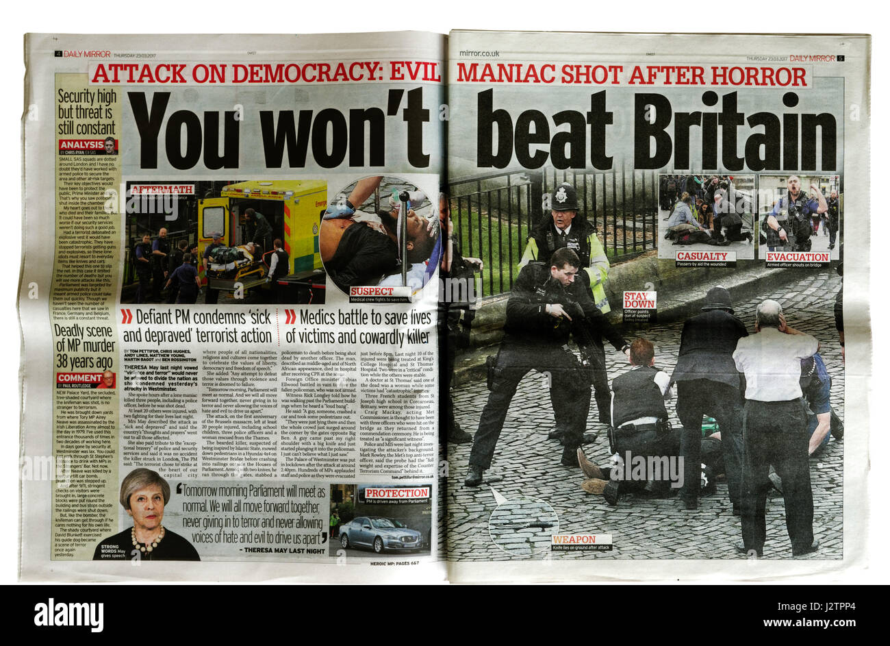 Inside from The Mirror newspaper from 23rd March 2017 after the Westminster Bridge terrorist attack in London. - Stock Image