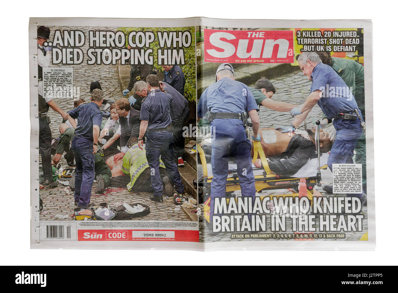 The headlines from The Sun newspaper from 23rd March 2017 after the Westminster Bridge terrorist attack in London. - Stock Image
