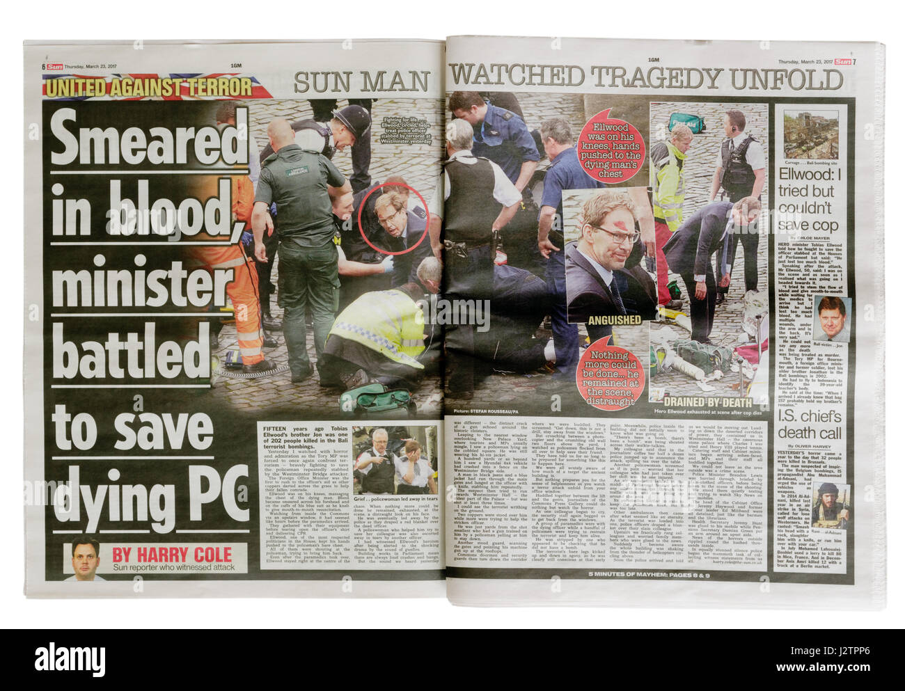 Inside pages from The Sun newspaper from 23rd March 2017 after the Westminster Bridge terrorist attack in London. - Stock Image