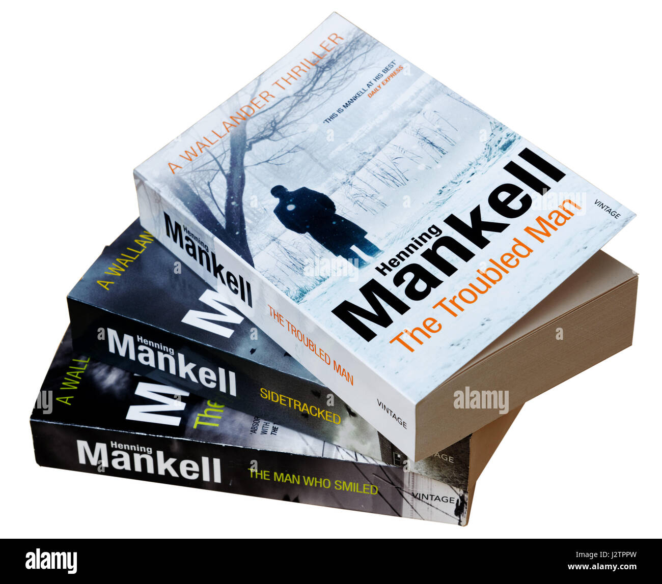 A selection of Henning Mankell detective Wallander books, including The Troubled Man, The Man Who Smiled and Sidetracked - Stock Image