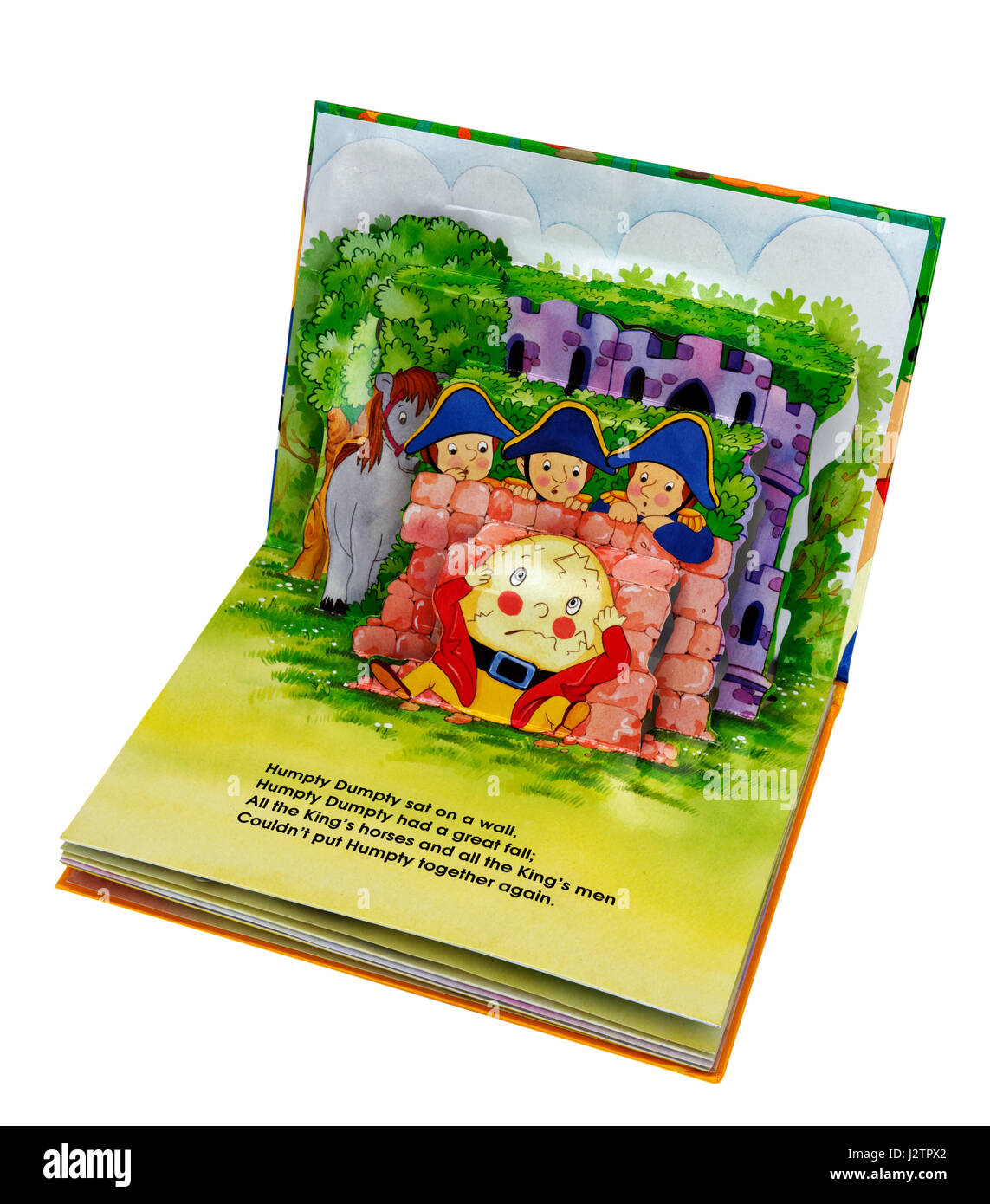 The nursery rhyme Humpty Dumpty in a pop-up book of nursery rhymes - Stock Image