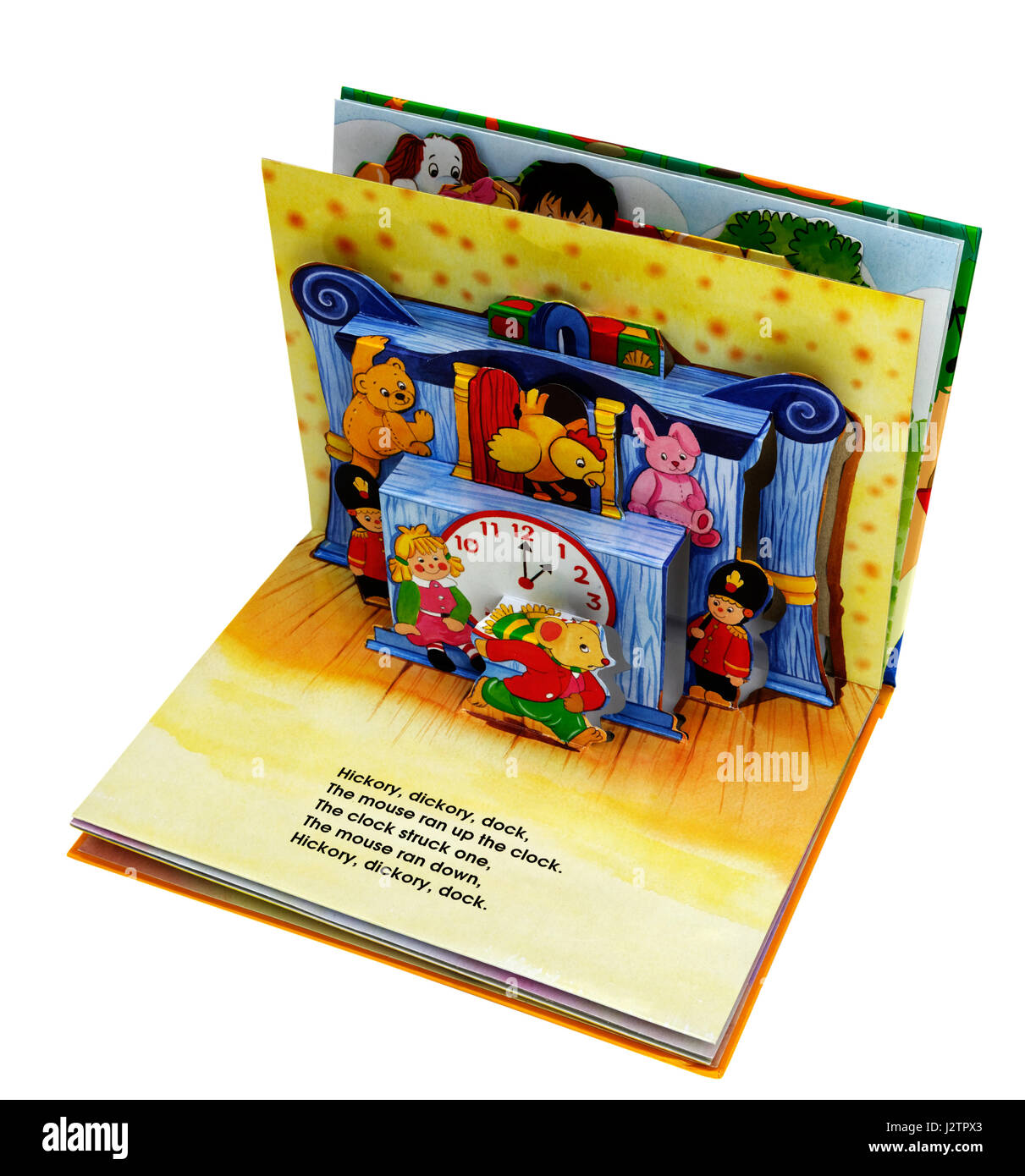 The nursery rhyme Hickory Dickory Dock in a pop-up book of
