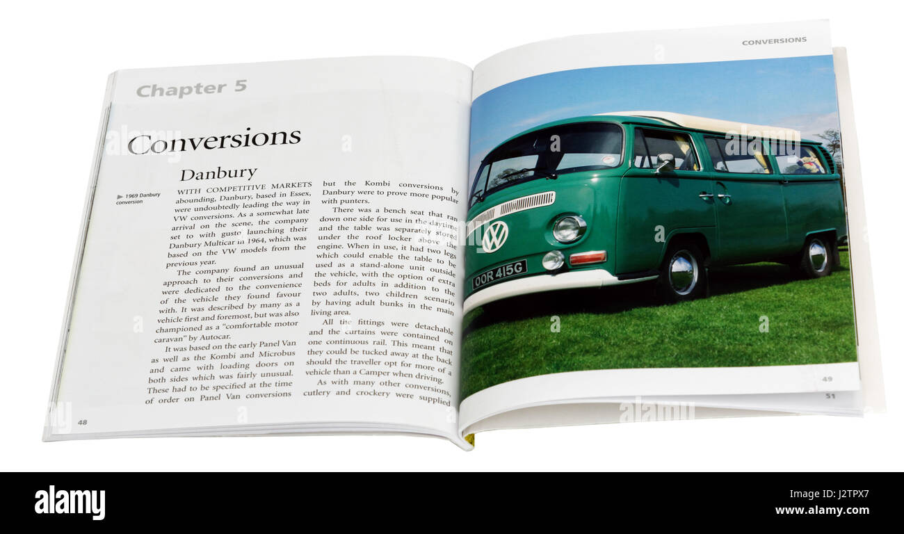 A page from a book about the VW Camper, showing the Danbury Conversion. - Stock Image
