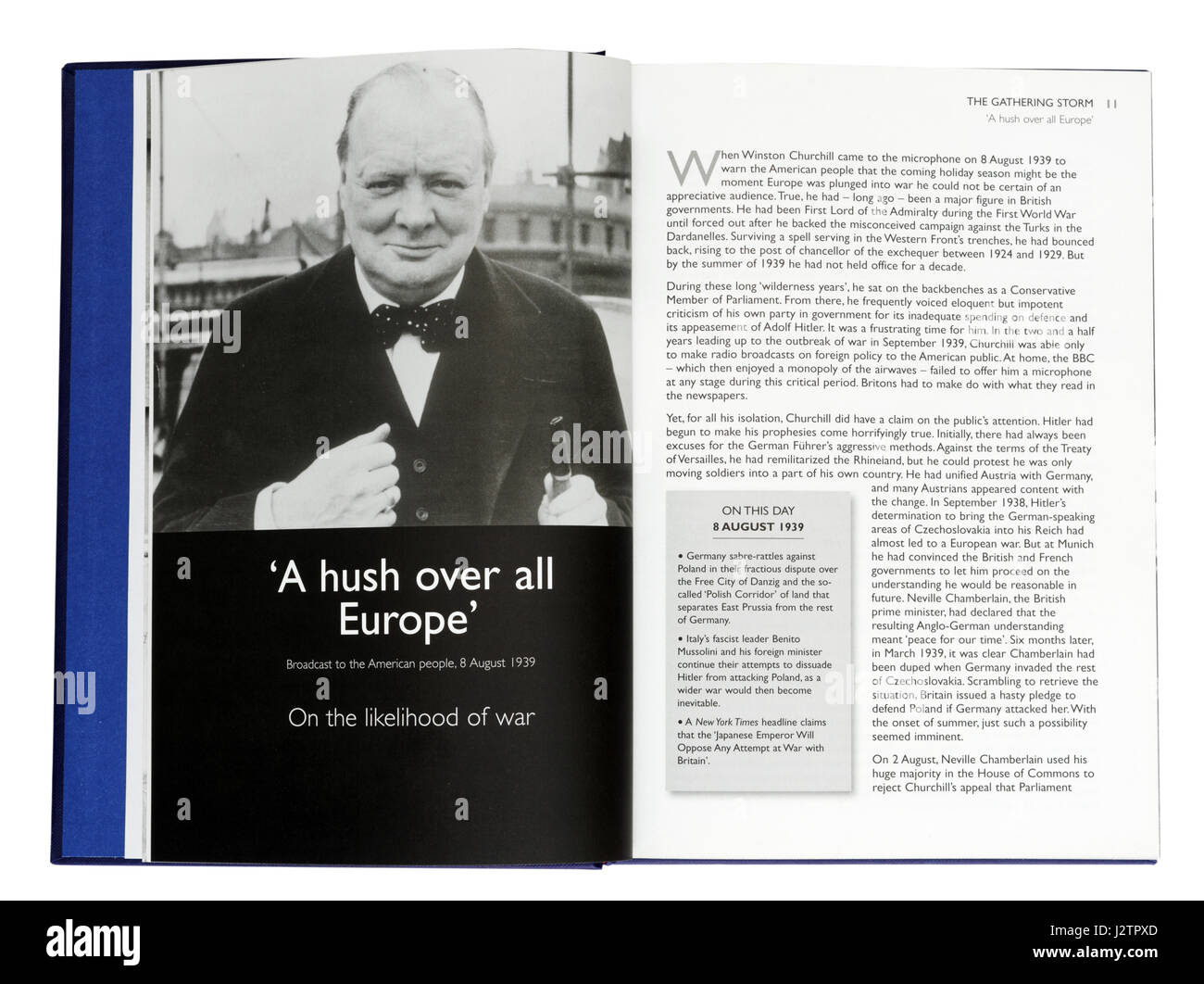 A Hush All Over Europe - speech to the americans on the likelihood of war :  Page in Illustrated book of Winston - Stock Image