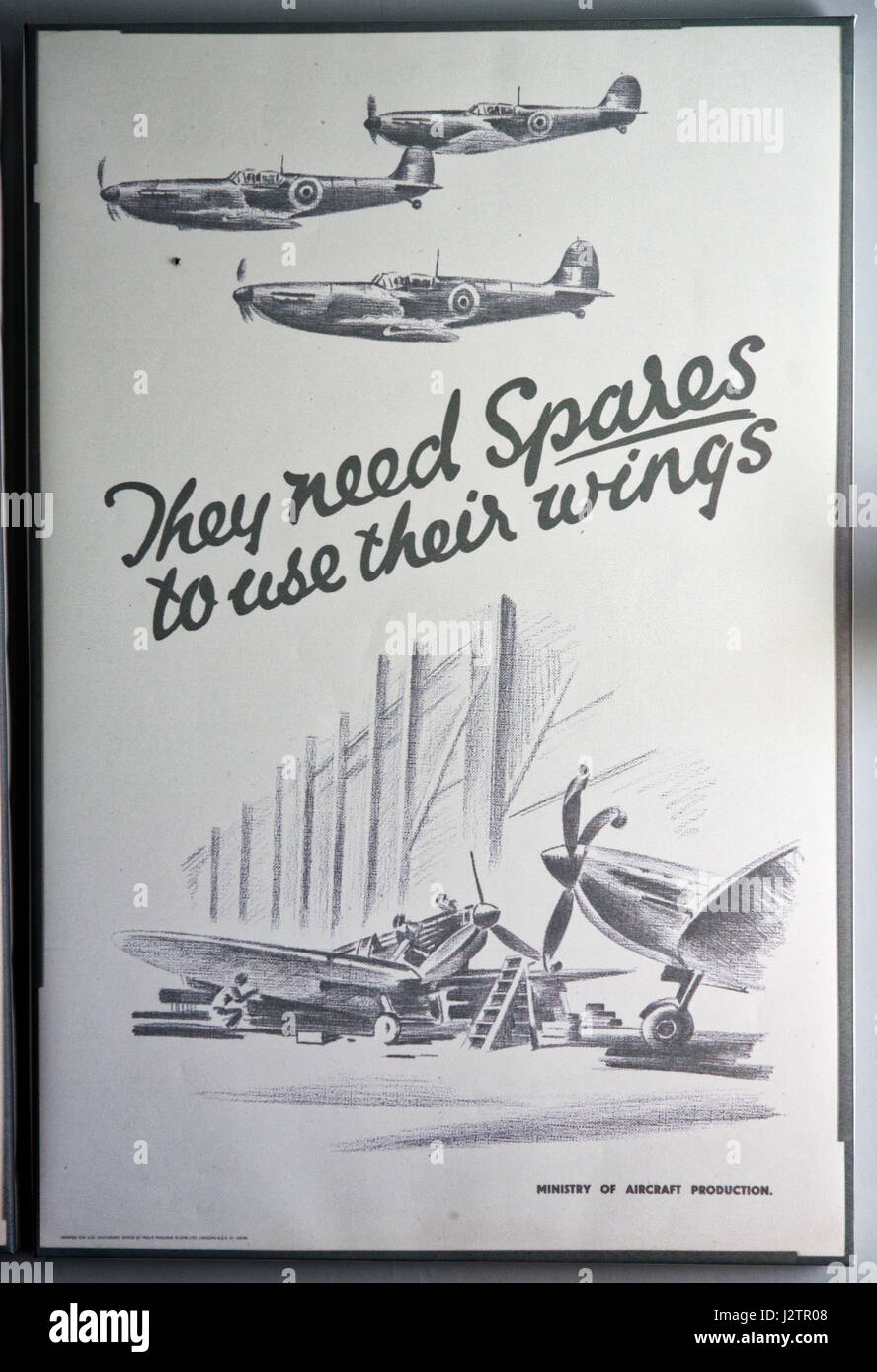They Need Spares to Use Their Wings: A second world war propaganda poster supporting aircraft mechanics and repair - Stock Image