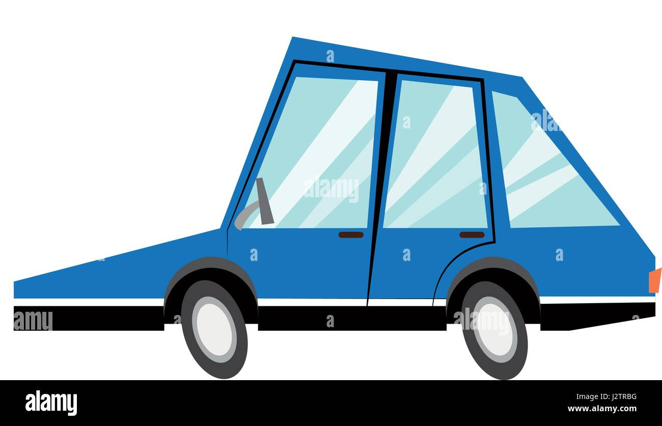 cartoon blue car transport model image - Stock Image