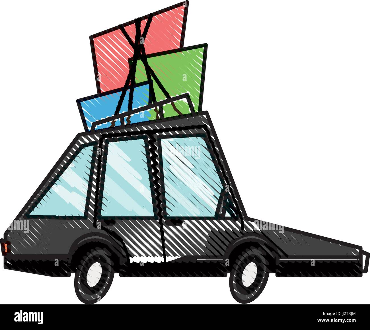 drawing car transport family package tourism Stock Vector Art ...