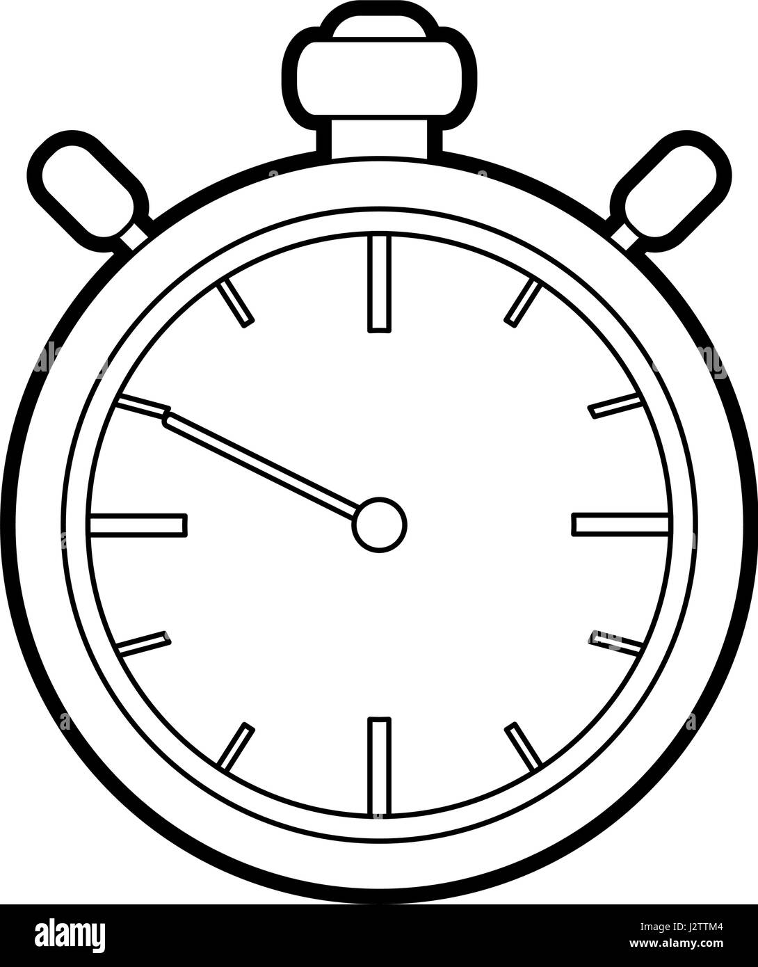 Black Silhouette Stopwatch Graphic Icon Stock Vector Art