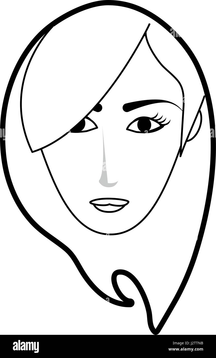 Black Silhouette Cartoon Front Face Woman With Short Side Hairstyle