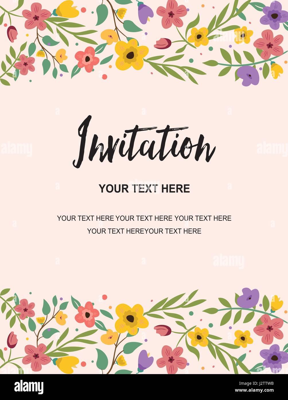 Wedding Party And Anniversary Invitation Card Retro Template