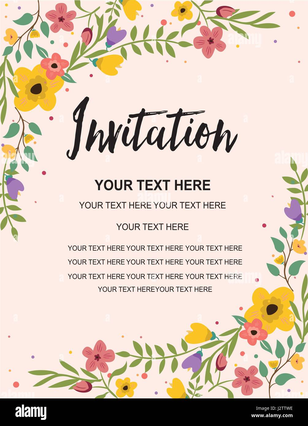 Anniversary Party Invitation Card Template. Colorful Floral Stock