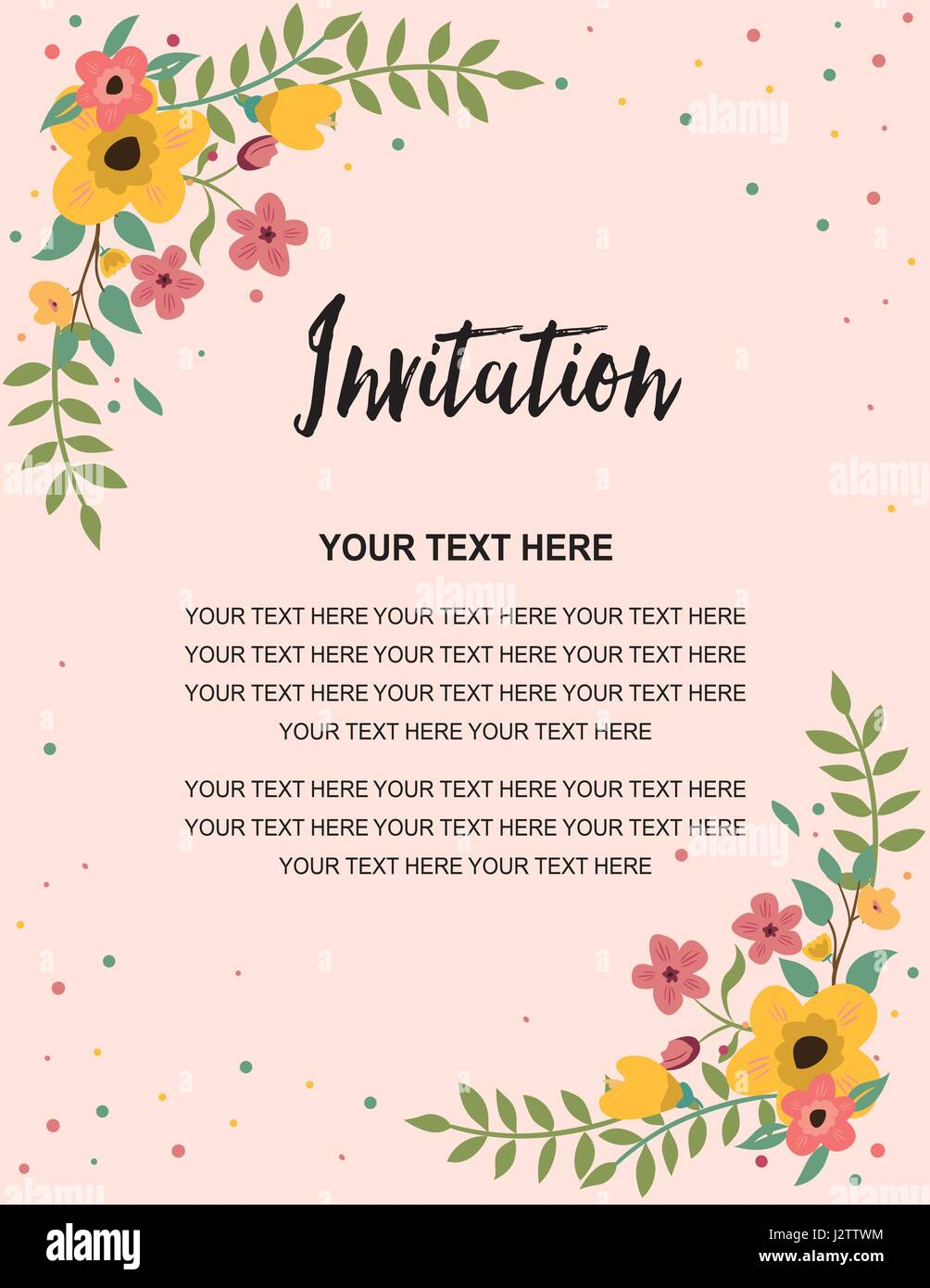 Wedding Invitation Greeting Card Template. Vintage Floral Design ...