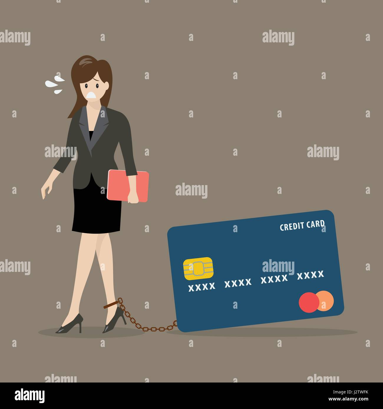 Business woman with credit card burden. Business concept - Stock Image